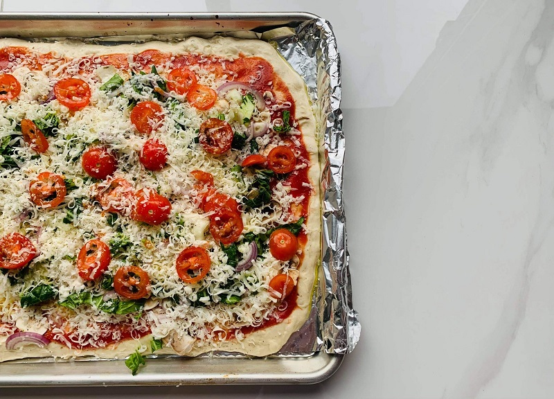 Pizza sur plaque